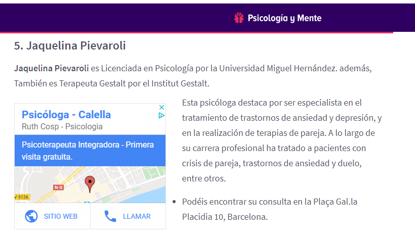 Revista Psicologia y Mente, una de las mejores psicólogas de Sant Gervasi-Galvany de Barcelona.