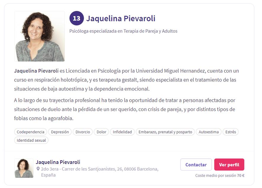 Mejor especialista de autoestima Jaquelina Pievaroli